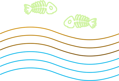 Illustration of dead fish and merky water.